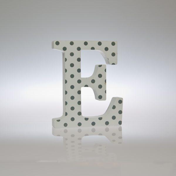 12cm White Silver/Grey Spot Letter-1092