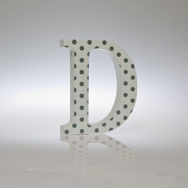 12cm White Silver/Grey Spot Letter-1091