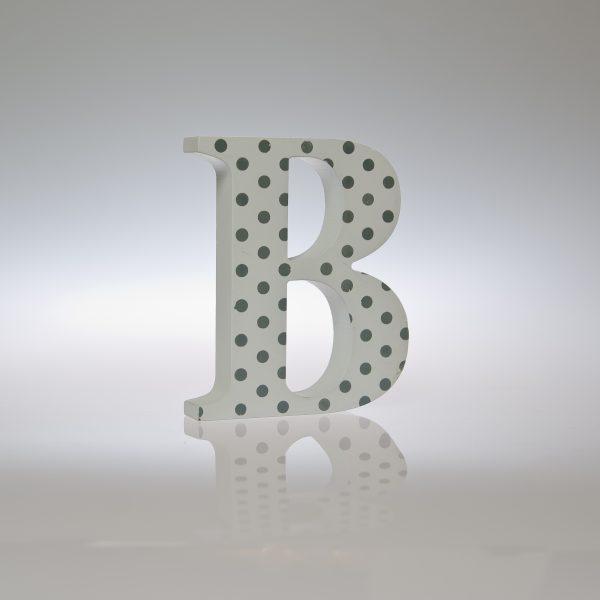 12cm White Silver/Grey Spot Letter-1089