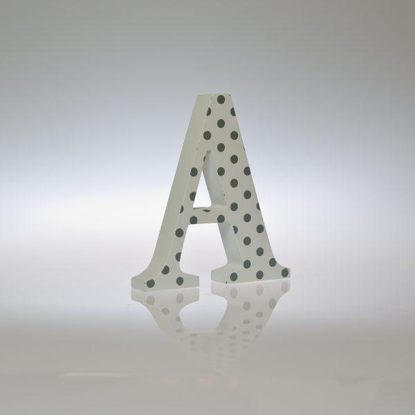12cm White Silver/Grey Spot Letter-1088