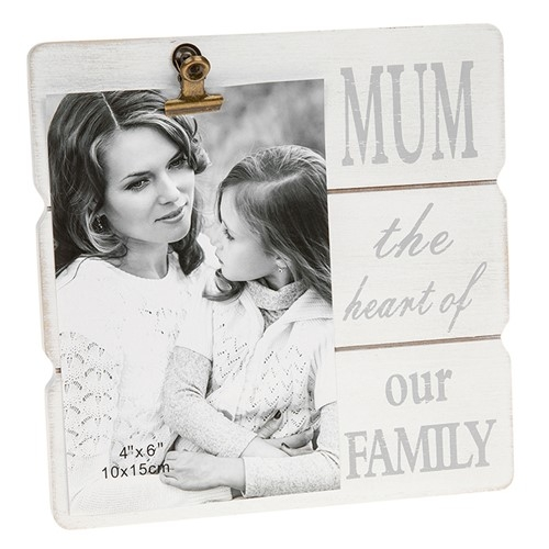 White Message Clip Frame - Mum the Heart of our Family-0