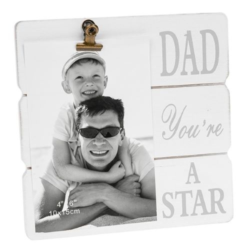 White Message Clip Frame - Dad you're a star-0